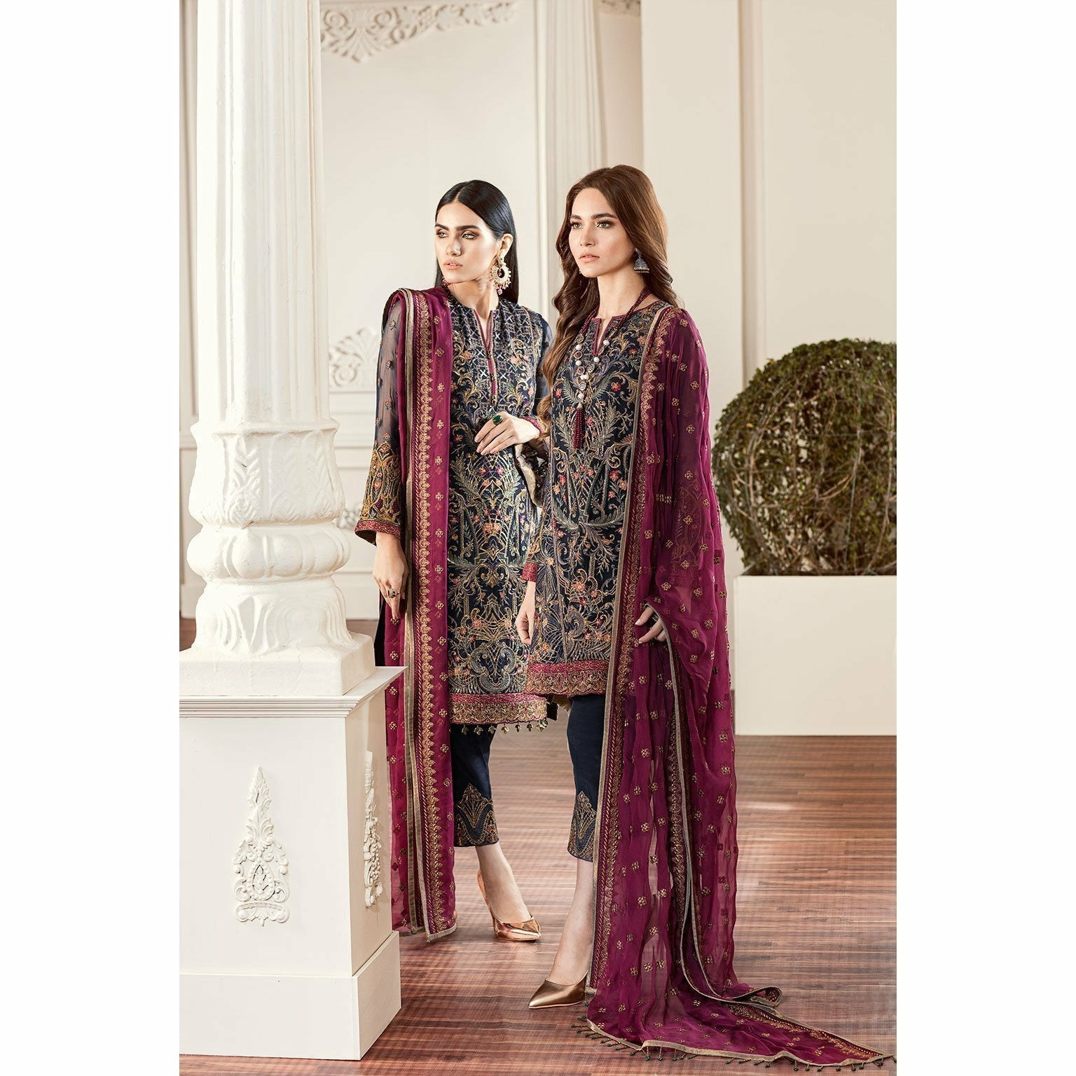 Baroque Embroidered Designer Women clothes 01 - Rouge - House of Faiza