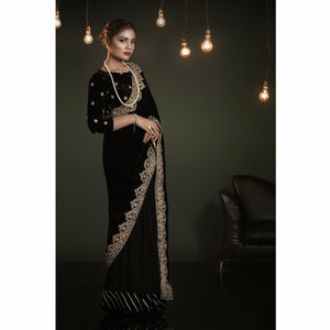 A-MEENAH Embroidered Velvet Designer Saree | A-Blacks 02 (FARYAL) - House of Faiza