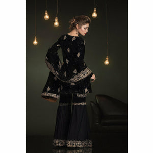A-MEENAH UK Embroidered 3 piece Women's Suit, Chiffon Gharara, Pakistani Designer Clothes