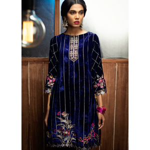 Embroidered Luxe Velvet Shirt, ready made pakistani clothes uk, pakistani clothes online uk, dresses