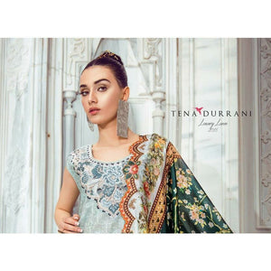 TENA DURRANI - Lara Blue 09A | Embroidered, Printed Fully Stitched Women's Suit