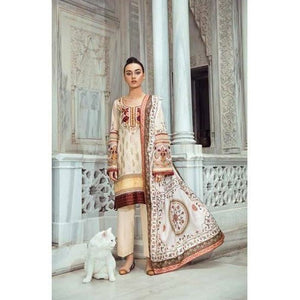 TENA DURRANI - Jahanara Cream 04A | Embroidered, Printed Fully Stitched Women's Suit