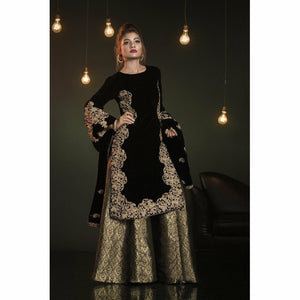 A-MEENAH Embroidered 3 piece Women's Suit, Jamawar Plazo, Velvet Shirt, Pakistani Clothes