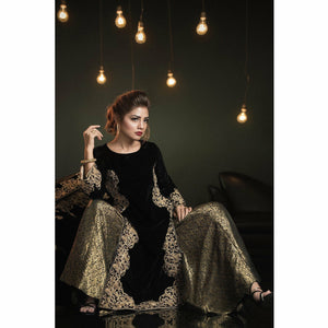 A-MEENAH Embroidered 3 Piece Women's Suit  | A-Blacks 03 (Faryal) - House of Faiza