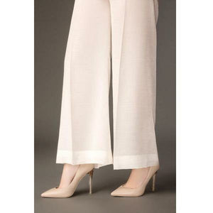 BAROQUE - DESIGN 49 | White Bell Bottom Women's Trouser