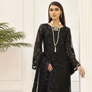 Nuréh | Luxury Embroidered Chiffon | Black Amber NL-08