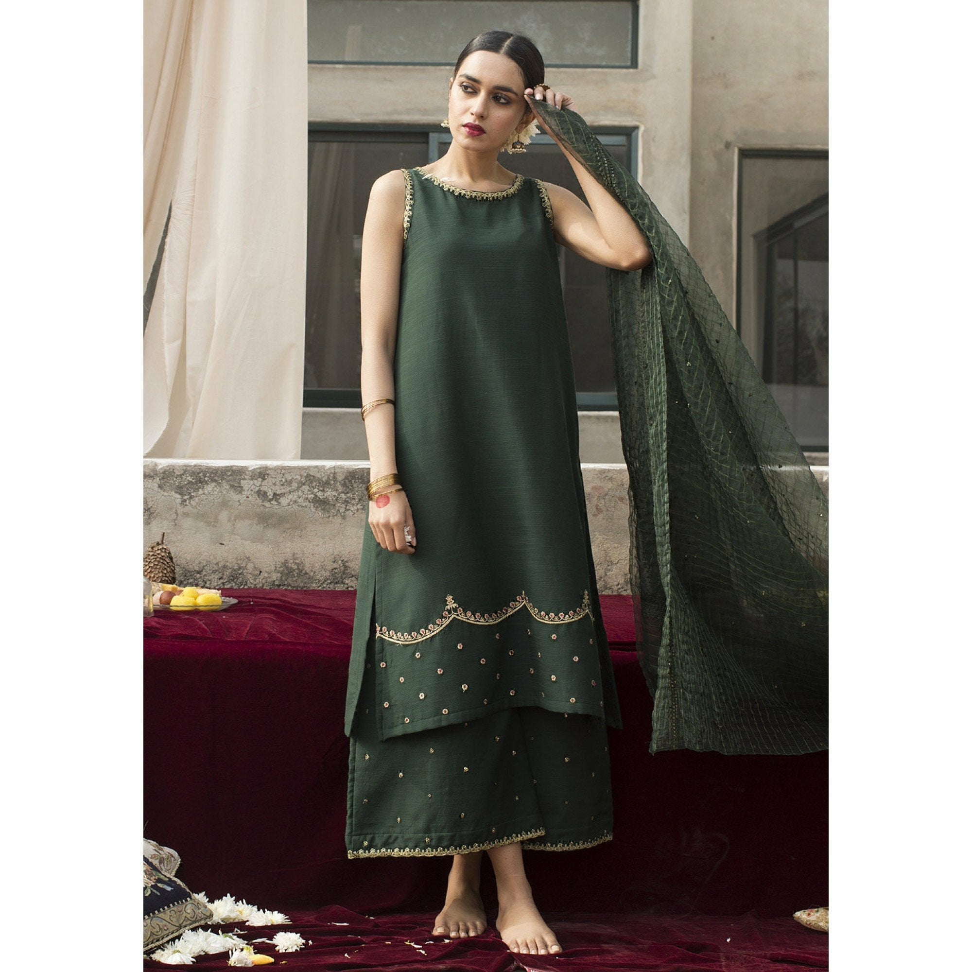 DYOT Roshanay - Bottle Green Outfit