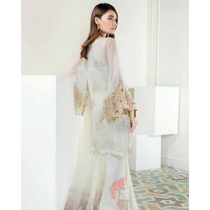Chimmer by Charizma Embroidered Bamber Chiffon Collection Vol 2 - Ivory Gold CM-09