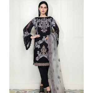 Chimmer by Charizma Embroidered Bamber Chiffon Collection Vol 2 - Black Magic CM-15