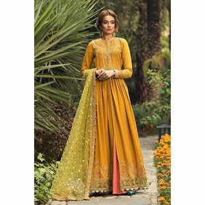 Maria.B Sateen Collection 20 | CST-206-Marigold Yellow - House of Faiza