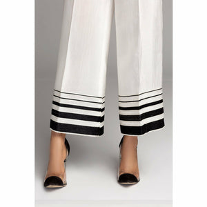 BAROQUE - DESIGN 96 | White Embroidered Bell Trouser - House of Faiza
