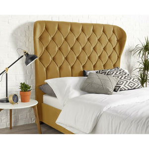 Janssen Wing Plush Velvet Bed - Ochre - House of Faiza