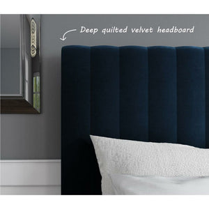 Khloe Plush Velvet Bed - Navy Blue - House of Faiza