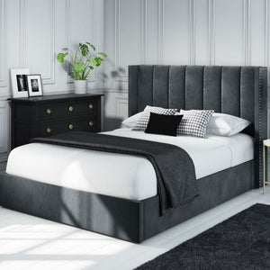 Maddox Wing Back Plush Velvet Bed - Grey - House of Faiza