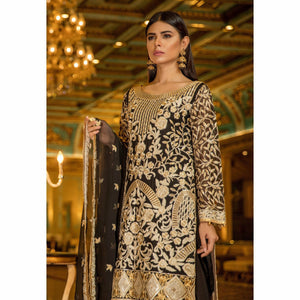 Maryum N Maria Embroidered Chiffon Collection | BLACK MIDNIGHT MMB-202