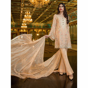 Maryum N Maria Embroidered Chiffon Collection | PEACH LILIUM MMB-207