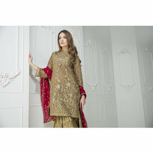 Maryum N Maria Embroidered Chiffon Collection | Brown Empress MM-A08