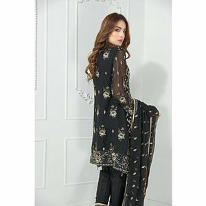 Maryum N Maria Embroidered Chiffon Collection | Black Pearls MM-A06