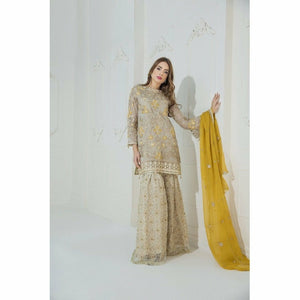 Maryum N Maria Embroidered Chiffon Collection | Subtle Cream MM-A09