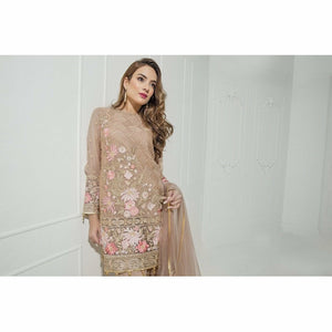 Maryum N Maria Embroidered Chiffon Collection | Gold Petals MM-A03