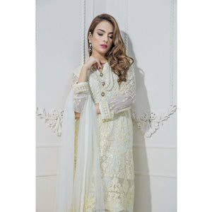 Maryum N Maria Embroidered Chiffon Collection | White Crimson MM-A07