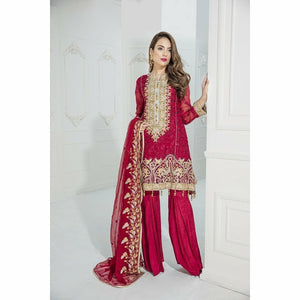 Maryum N Maria Embroidered Chiffon Collection | Red Beryl MM-A04