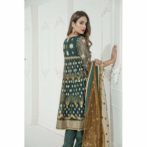 Maryum N Maria Embroidered Chiffon Collection | Ivory Green MM-A10