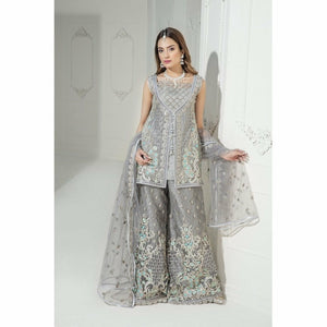 Maryum N Maria Embroidered Chiffon Collection | Majestic Grey MM-A05