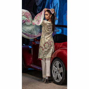 Embroidered Lawn Shirt with Chiffon Dupatta | 3pc (RC-146A)