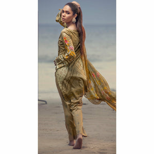Embroidered Lawn Shirt with Chiffon Dupatta & Printed Trouser | 3pc (RC-150B)