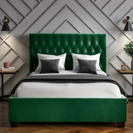 Safina Quilted Button Plush Velvet Bed - Dark Green - House of Faiza