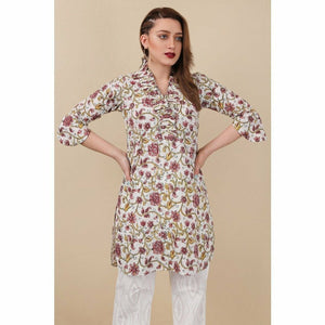 SAPPHIRE Petal White | Printed Women's Shirt - Ready To Wear