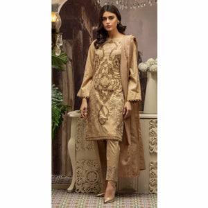 Embroidered Jacquard Shirt with Handwork & Trouser with Bunch | 3pc (WK-231)