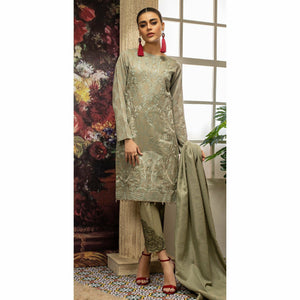Embroidered Jacquard Shirt with Handwork & Trouser with Bunch | 3pc (WK-233)