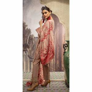 Embroidered Jacquard Shirt with Handwork & Trouser with Bunch | 3pc (WK-236)
