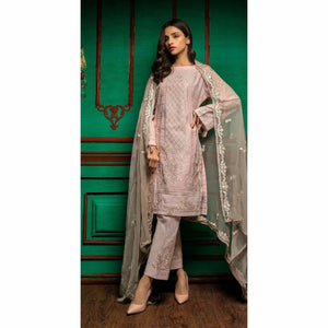 Embroidered Luxury Swiss Voile Shirt with Chiffon Dupatta & Embroidered Trouser Bunches | 3pc (WK-240)