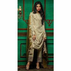 Embroidered Luxury Swiss Voile Shirt with Chiffon Dupatta & Embroidered Trouser Bunches | 3pc (WK-243)
