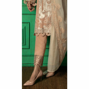 Embroidered Luxury Swiss Voile Shirt with Chiffon Dupatta & Embroidered Trouser Bunches | 3pc (WK-245)