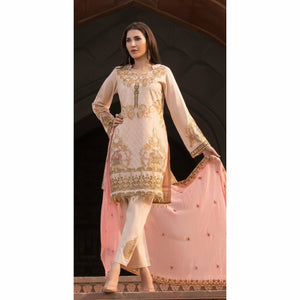 Embroidered Swiss Voile with Chiffon Dupatta & Trouser Bunches | 3pc (WK-152)
