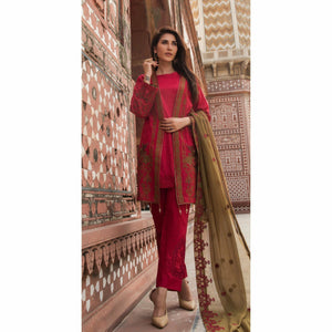 Embroidered Swiss Voile with Chiffon Dupatta & Trouser Bunches | 3pc (WK-159)