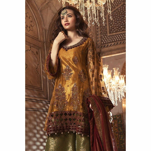 MARIA B - Metalic Rust & Maroon (BD-1305) | Fully Stitched Embroidered Women's Suit