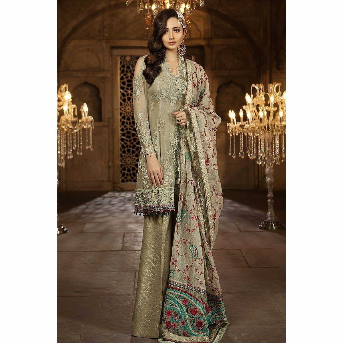 60f2af973b MARIA B MBROIDERED EID COLLECTION 2018 - VOL 2 - BEIGE (BD-1403)
