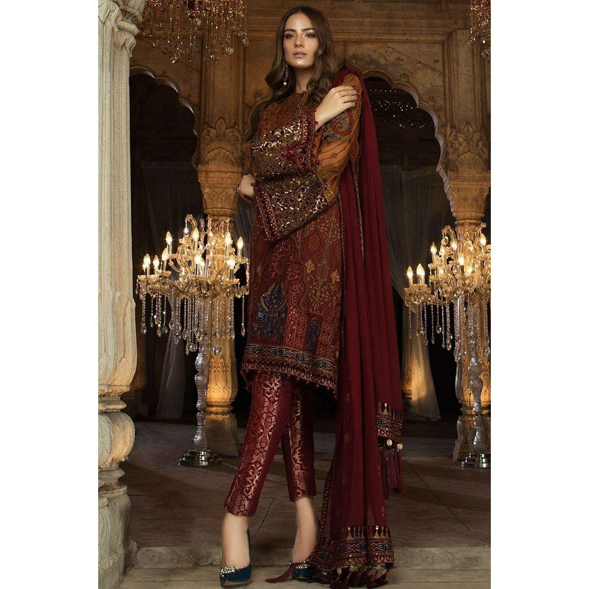 57f3830ff6 MARIA B MBROIDERED EID COLLECTION 2018 - VOL 2 - RUST & MAROON (BD-1407)