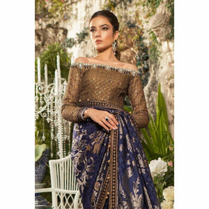 MARIA B | MBROIDERED - Deep Sapphire and Burnt Gold (BD-1601)