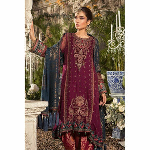MARIA B | MBROIDERED - Deep Magenta and Teal (BD-1605)
