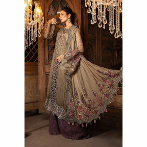 MARIA B MBROIDERED - Cappuccino Grey & Lilac (BD-1704) - House of Faiza