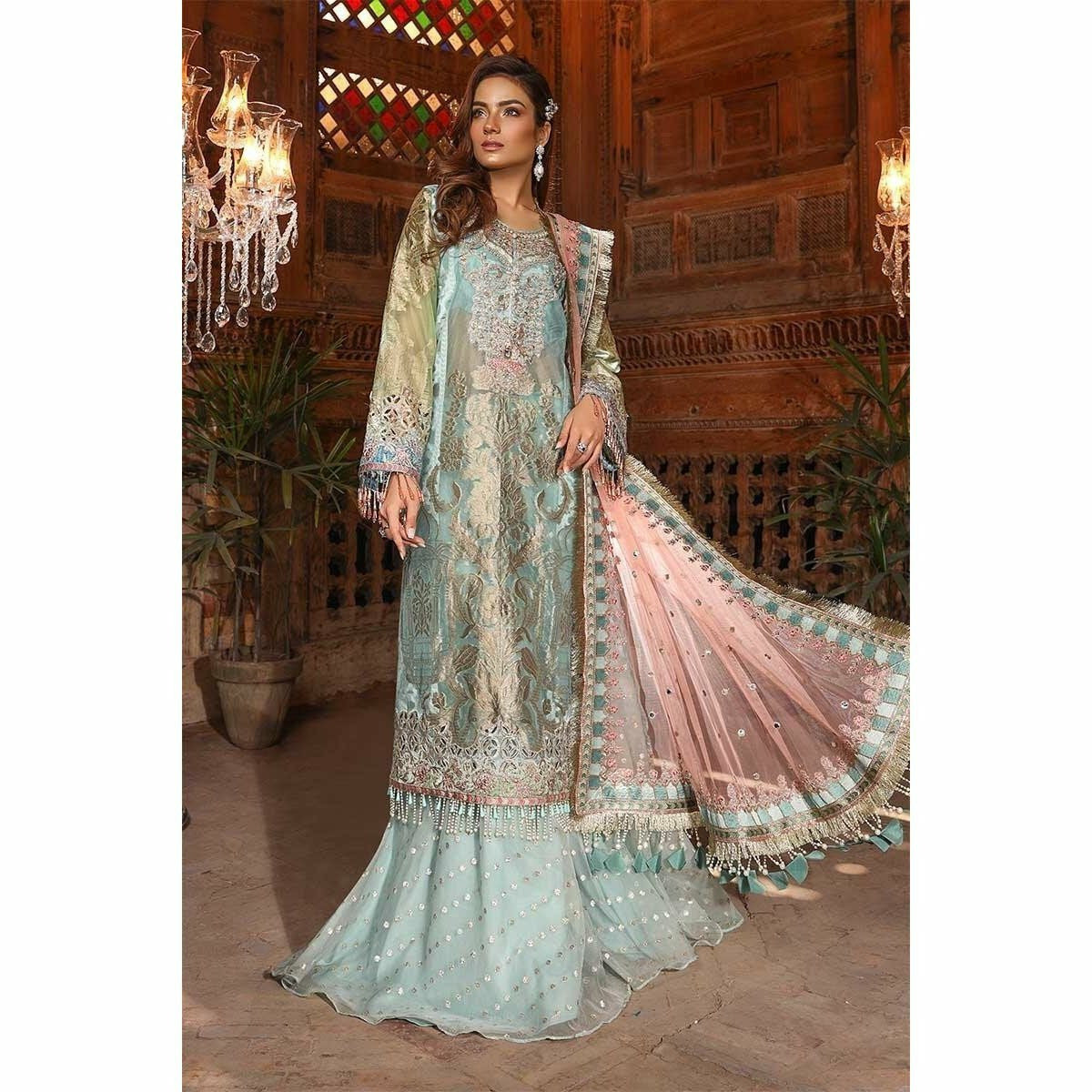 MARIA B MBROIDERED - Powder Blue & Coral (BD-1705) - House of Faiza