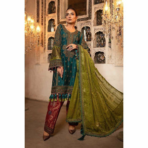 MARIA B MBROIDERED - Teal, Green & Deep Ruby (BD-1706) - House of Faiza