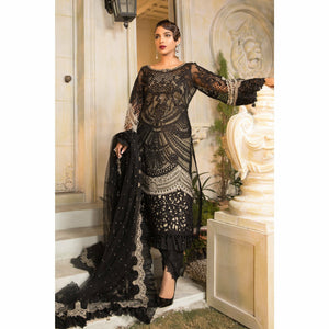 Maria.B. | Mbroidered Eid Collection 21 | Black and Coffee (BD-2106) - House of Faiza
