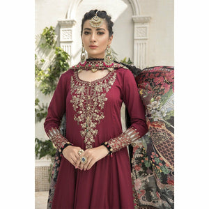 Sateen Fall Collection 20 | CST-307-Maroon - House of Faiza